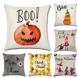 Wholesale Knitted Seat Cushion - Halloween High Qulity Cotton Linen Pumpkin Little Witch Printed Decorative Cushion Cover Pillow Case Car Seat 44*44cm Pillowcase