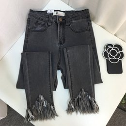 Wholesale High Waisted Cotton Pants - High-waisted irregular nine-minute trousers, jeans, jeans, black, thin black, gray, gray, black and black