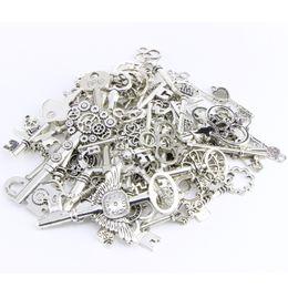 Wholesale Metal Charms Pendants Circles - Retro Key 80pcs lot 5mm Hole-diameter Metal Loose Beads Charm DIY Jewelry Accessory Pendant For Keyring Bracelet Necklace