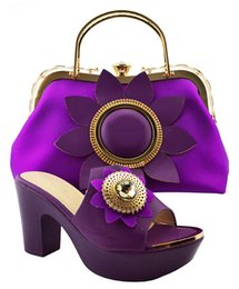 shoes purple heels rhinestone 2018 - Nigeria Wedding Sandal Shoes And Bag To Match High Quality Fashion African Italian Shoes And Matching heel 10 cm G3-37