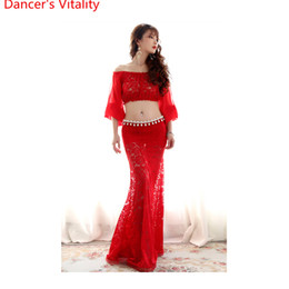 Сексуальная юбка для танца живота онлайн-New Arrival Belly Dance Cut out Perspective Costume Sexy Slim Fit Set for Women Girls Oriental  Dancing Top Skirt Suits