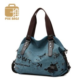 Wholesale Girls Lunch Totes - Women Messenger Bags Vintage Canvas Printing Shoulder European Style Girls Handbag Ladies Tote Shopping Office Lady Lunch Bag