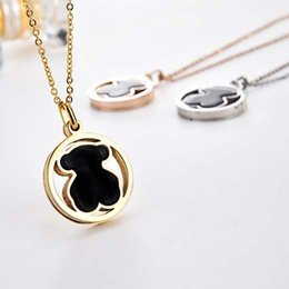 Wholesale Acrylic Necklaces - New 4 color Gold Silver plated bear style Fashion Brand Jewelry Stainless Steel round style acrylic stone Necklace Wholesale OSOS El collar
