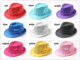 Wholesale Baby Boy Brim Hats - Baby Girl Boy Children Sequins Jazz Hats Fashion Sequins Dance Performance Kid Fedora Hat Fedoras Stingy Brim Hats Caps Hats A016
