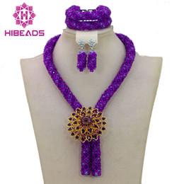 Wholesale Purple Costume Jewelry - Purple Costume Jewelry Set Nigerian Wedding African Beads Set Crystal Braid Pendant Necklace Set WA386