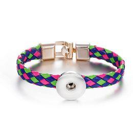 Wholesale Ethnic Crosses - Wholesale Colorful ethnic leather bracelet Interchangeable Jewelry Noosa Snap Button Bracelet