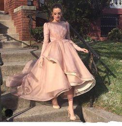 vestidos de estilo de vestido reto Desconto Elegante rosa mangas compridas vestido de baile vestidos de baile de alta baixo simples formal vestidos de festa vestido de baile