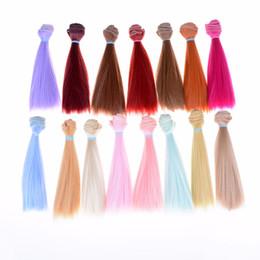 parrucche lunghe spesso Sconti Accessori per bambole 15cm Materiale Colore naturale Capelli lunghi per bambola Alta temperatura BJD spessa Parrucche capelli lisci multicolor Vendita calda
