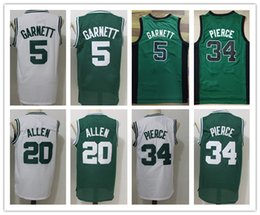 Wholesale Red Blue Ray - NCAA Free Shipping Mens basketball jersey throwback 5 Kevin Garnett jersey 20# Ray Allen 34# Paul Pierce embroidery Jerseys Green White Shir