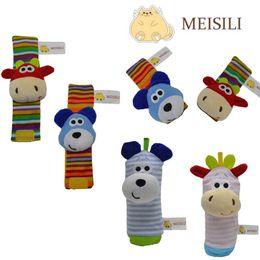 Wholesale Wholesale Dog Socks - Baby Wrist Rattles Socks Dog Cow Bracelet Foot Rattles Socks Animal Wrist Stripe Foot Ring Socks OOA4579