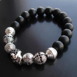 Pulsera de obsidiana negra online-Black Obsidian Strand Bracelets Skull Cross Beads Bracelets para Hombres y Mujeres Esqueleto de Plata Regalo de Joyería de Moda