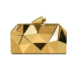 lange goldene kette Rabatt Heißer Geometrischer Entwurfs-kleiner Ganzmetallgeldbeutel für Frauen arbeiten Kupplungs-Abend-Beutel-silberne goldene Hochzeits-Handtasche mit langer metallischer Kette um