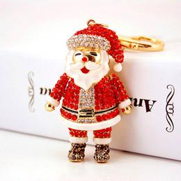 Wholesale Santa Christmas Keys - 2018 Fashion Santa Claus Jewelry Key Ring Christmas Keychain Rhinestones Key Rings Bag Car Accessorice Keychain Woman Gift G13Q