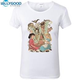 Novo Verão de Moda Feminina Alice No País Das Maravilhas T-shirt Das Mulheres Dos Desenhos Animados Mangas Curtas de Algodão Macio Branco Tops S1396 de Fornecedores de blusa branca camiseta