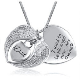 Wholesale love heart wing necklace - Wholesale custom-made stainless steel angel wings heart heart DAD carved perfume bottle urn cremation funeral ashes jewelry necklace pendant