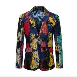 Wholesale Colorful Mens Clothes - Floral Blazer Men 2018 New Autumn Slim Fit Mens Casual Blazer Brand M- 5XL Colorful Stage Clothing Prom Blazers XZ888