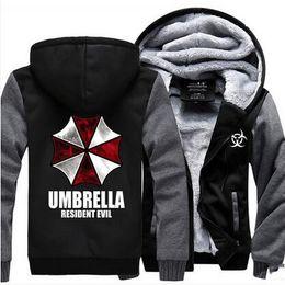 Wholesale Umbrella Sleeves - Wholesale- Resident Evil Umbrella Thicken Coat Jacket Hoodie Sweatshirt thermal fleece