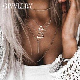 gold gefüllt kubanischen link silber Rabatt GIVVLLRY Minimalistische Multi Layered Kette Halskette für Frauen Elegante Silber Farbe Hohl Dreieck Geometrische Bar Anhänger Halskette