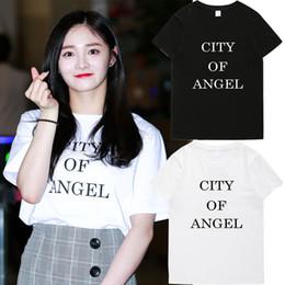 7c9e418020b0 KPOP lustig niedlich koreanisch I.O.I Pinky lässig Stadt der Engel Brief  drucken Mädchen Unisex Tumblr Ästhetische Shirts T-Shirts Tops Grafik