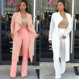 2018 Otoño Invierno Moda Mujer Larga Gabardinas Volantes Solapa Cuello Manga Larga Elegante Señora Chaquetas Outwear Escudo Rosa Blanco Imagen Real desde fabricantes