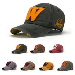 Wholesale worn baseball cap - Hot Cotton Embroidery Letter W Baseball Cap Snapback Bone Casquette Hat Distressed Wearing Style Hat For Men Women X101