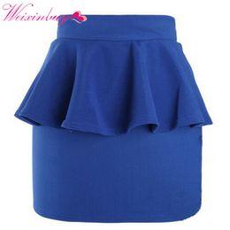 Wholesale High Waisted Mini Skirts - WEIXINBUY Women Girl High Waisted Peplum Frill Pencil Skirt Stretch Body con Mini Sexy Skirt
