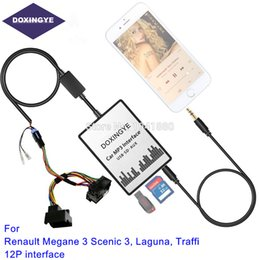 2020 carro mp3 renault Para Renault 12pin Megane 3 Scenic 3 Interface de Tráfego Laguna USB SD AUX Carro MP3 Adapte CD alterar controles de volante carro mp3 renault barato