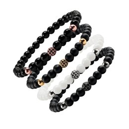 black ball beaded bracelets Coupons - Fashion Natural Stone Beads Bracelets Bangles Men's Black CZ Ball Elastic Bracelet For Women Yoga Charm Jewelry Couple Gifts Hot