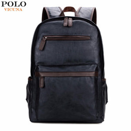 Wholesale trendy travel backpacks - VICUNA POLO Brand Leather Mens Laptop Backpack Casual Daypacks For College High Capacity Trendy School Backpack Men Travel Bag