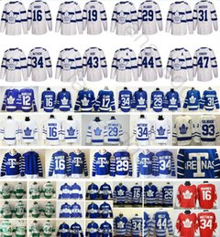 Stade des Maple Leafs de Toronto 2018 Série 12 Patrick Marleau 16 Mitchell Marner Wendel Clark 29 William Nylander Maillot 34 Auston Matthews ? partir de fabricateur