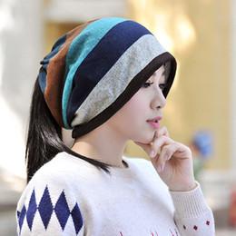 bufanda de punto azul Rebajas Capas dobles Punto de rayas Patrón Mantenga  cálidos sombreros Gorros Mujeres 0aef1b4b19a