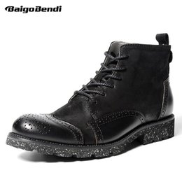 Wholesale Mens Business Boots - Recommend !! Hight Quality Mens Brogue Shoes Round Toe Genuine Leather Martin Boots Winter Business Man Casual Oxfords