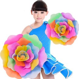open cloth party Promo Codes - Chinese Peony Flower Dancing Party Performing Prop Multi Color New Creative Artificial Simulation Hand Flowers Home Decor 65sy C