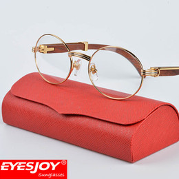 Wholesale Male Case - Metal wood frame glasses With Red Case & Box and Accessories Brand Designer Fashion Gold Frames Eyeglasses Men Women Brown Lens