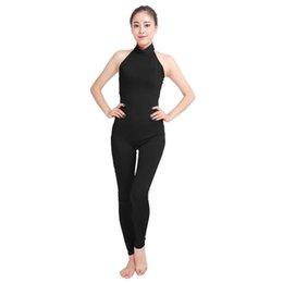 Wholesale Womens Costume Xxl - Ensnovo Women Ballet Yogo Dance Unitard Sleeveless Womens Unitard Lycra Nylon Spandex Dancewear Black Suit Gymnastics Leotards
