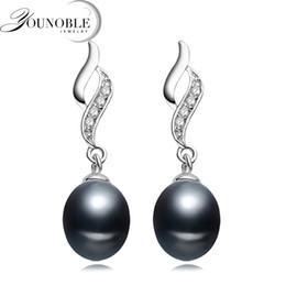 echte schwarze perlenohrringe Rabatt Echte natürliche Frischwasserperlenohrringfrauen, klassischer schwarzer Brautsilberschwarz-Perlenohrring