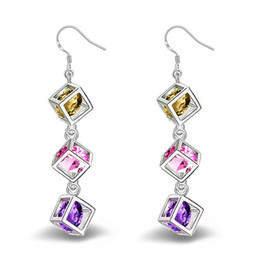 Wholesale earring sapphire - 925 Sterling Sliver Earrings Swarovski Amethyst Crystal Earring Chandelier Fashion Earrings Dangle Luxury Designer Earring Designer Jewelry
