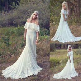 Wholesale Sexy Waistline - 2018 Boho Natural Waistline Beach Wedding Dresses Charming Off Shoulder Appliques Vintage Lace Bridal Gowns Bohemian Garden Vestido De Novia