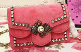 Wholesale Metal Gold Pearl - AAAAA 489218 Broadway Velver Mini Shoulder Bag Metal bees crystal wings and pearl closure Leather Lining with Box Dust Bag Free Shipping