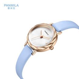 2019 petites femmes de montres de luxe 2019 PANMILA Marque féminine horloge femmes en cuir de luxe montres de poignet rond petit cadran avec bracelet mince strass montre décontractée promotion petites femmes de montres de luxe