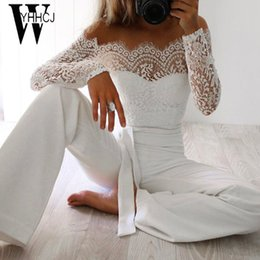Wholesale Womens Jumpsuits Rompers - WYHHCJ 2017 new women spring autumn jumpsuit sexy off shoulder long sleeve women bodysuit lace patchwork rompers womens jumpsuit