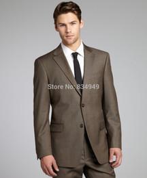 Wholesale Grey Bespoke Tuxedo - Brown Sharkskin Men Suit Custom Made Grey Two-Toned Woven Wedding Suits For Men,Bespoke Vintage Tuxedo Gray Wedding Tuxedo