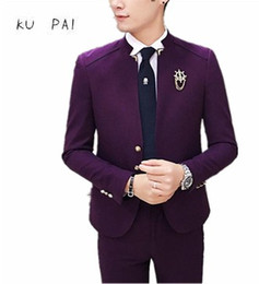 Wholesale Korean Fashion Wear Men - 2017 new Korean version of the tide male casual stand collar small Blazer British Chinese wind suit fashion men's wear-free jack