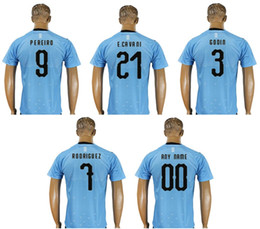 Nuevo Uruguay Mens # 22 Martin Caceres 21 Edinson Cavani 3 Diego Godin 9 Luis Suarez Uniformes del equipo Camisetas Deportes Custom Soccer Jerseys Cheap desde fabricantes