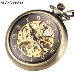Wholesale Dress Jade Color - Vintage Skeleton Steampunk Mechanical Pocket Watch Necklace Hand Wind Silver Bronze Retro Clock Chain Pendant Men Women Gift