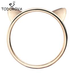 paar ring katze Rabatt Todorova Paar Schmuck Silber Ring Nette Katze Ohr Ringe für Frauen Großhandel Weibliche Fingerring
