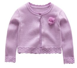 Wholesale Girls Short Sleeve Sweater - Flower Girl Sweater One Button Cotton Cardigan Floral Decoration 4Colors Choice Long Sleeves Air Conditioner Clothes