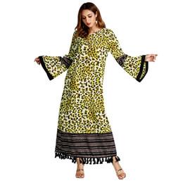 2019 vestidos de quimono de comprimento completo Casual Imprimir Leapord Abaya Borla Maxi Vestido Comprimento Completo Muçulmano Robe Vestidos Longos Kimono Ramadan Middle East Árabe Vestuário Islâmico desconto vestidos de quimono de comprimento completo