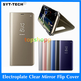Wholesale plastic electroplating - Holder Phone Case Electroplate Clear Smart Kickstand Mirror View Flip Cover Sleep wake For iphone 6 7 8 X samsung S7 S8 s9 plus note8 A8 DHL