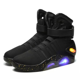 Wholesale plastic half round - Hot Sales Air Mag Sneakers Marty McFly's LED Shoes Back To The Future Glow In The Dark Gray Black Mag Marty McFlys Sneakers With Box Top
